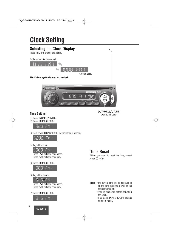hight resolution of clock setting selecting the clock display time reset panasonic cq 5301u user manual page 8 28