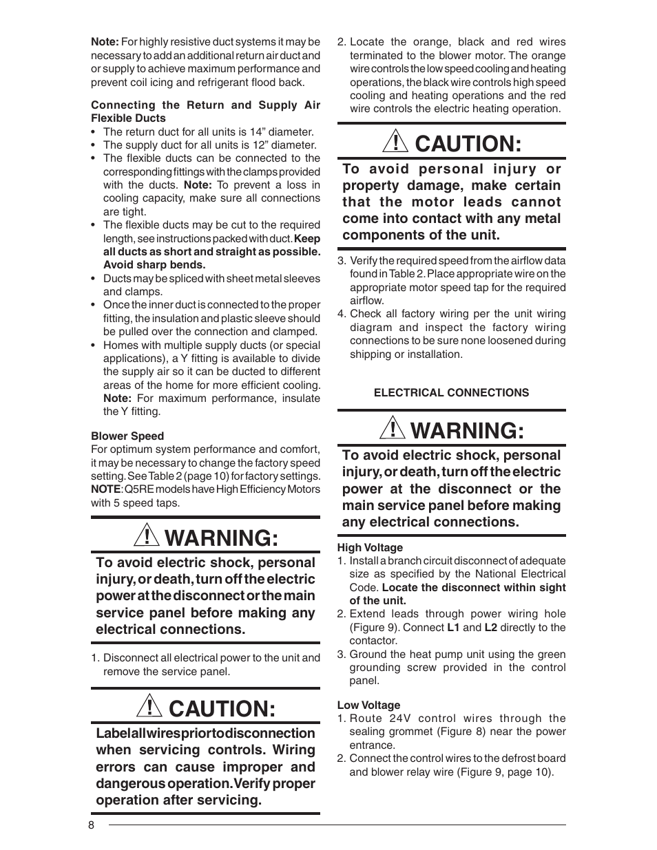 hight resolution of warning caution nordyne single package heat pump r 410a user manual page 8 20