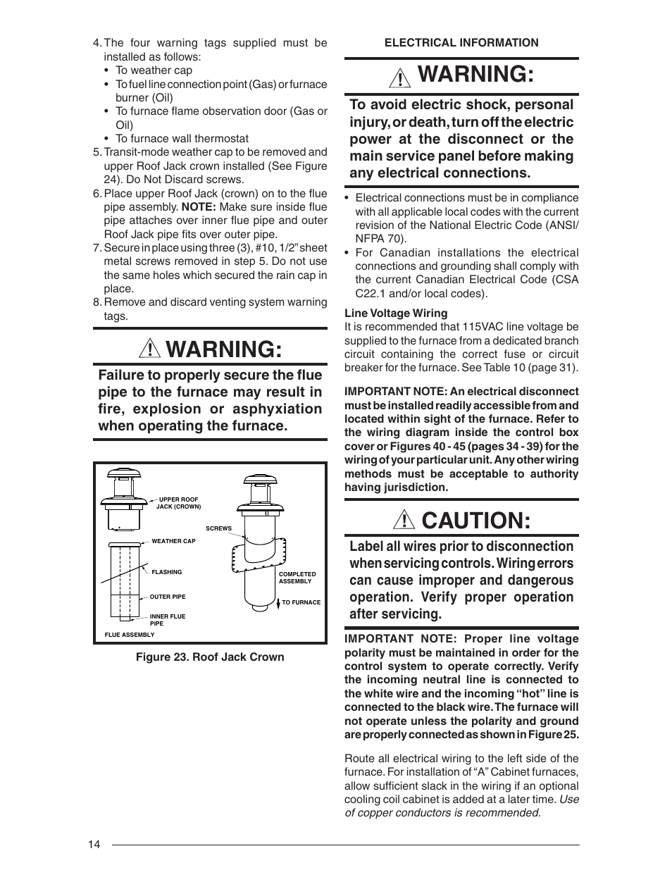 hight resolution of warning caution nordyne downflow direct vent forced air gas oil furnaces series m1b user manual page 14 40
