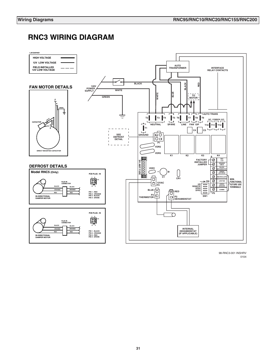 hight resolution of rnc3 wiring diagram fan motor details defrost details model rnc5 lifebreath rnc120d