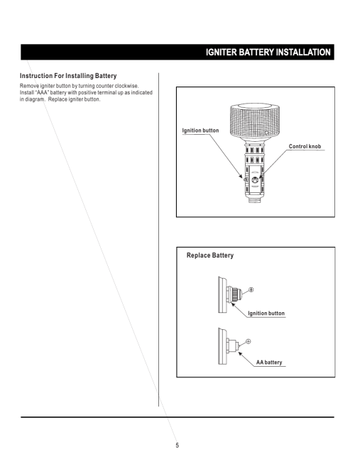 small resolution of igniter battery installation napoleon grills propane patio heater srph01 user manual page 5 14