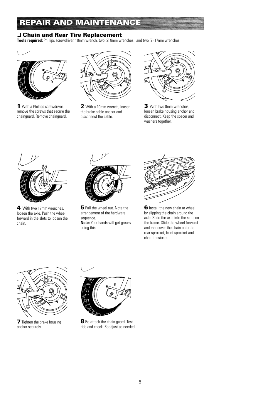 Repair and maintenance, Chain and rear tire replacement