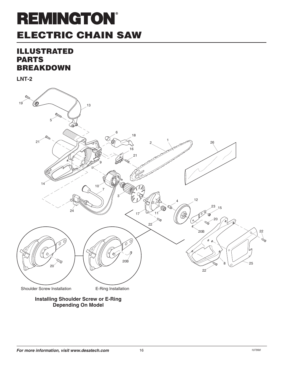Electric chain saw, Illustrated parts breakdown, Lnt-2