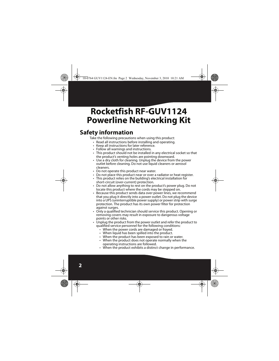 Safety information, Rocketfish rf-guv1124 powerline