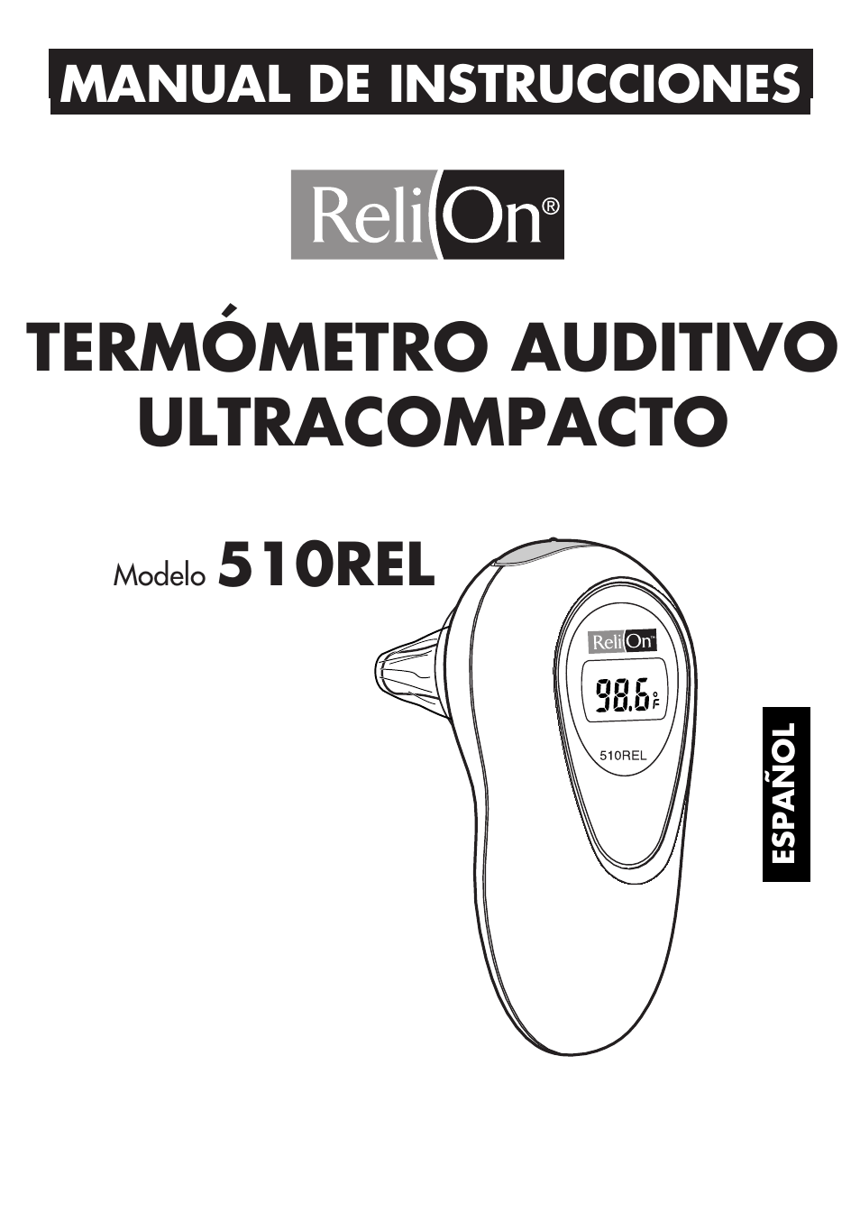 Termómetro auditivo ultracompacto, 510rel, Manual de