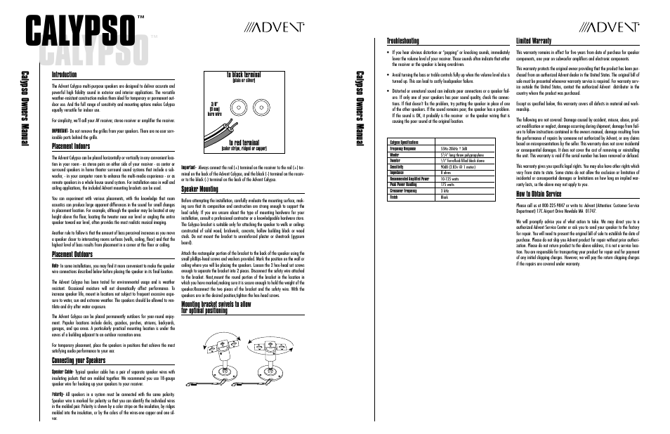 Recoton/Advent Multi-purpose Speaker Calypso User Manual