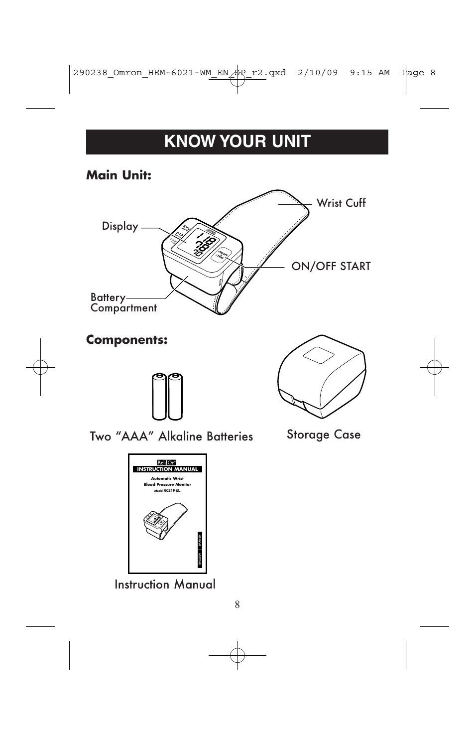 Know your unit, Operating instructions instruction manual