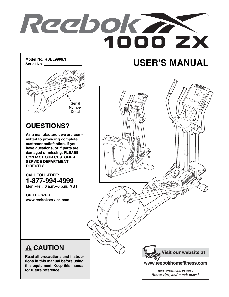 Reebok Fitness 1000 ZX elliptical exerciser RBEL9906.1