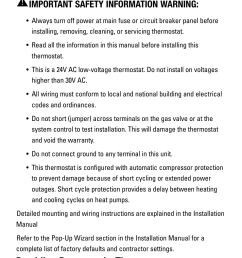 application important safety information warning providing power to the thermostat robertshaw rs5110 user manual page 2 32 [ 954 x 1972 Pixel ]