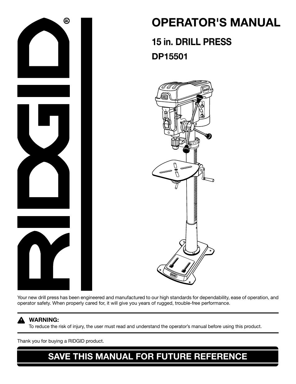 Ridgid Dp15501 Parts