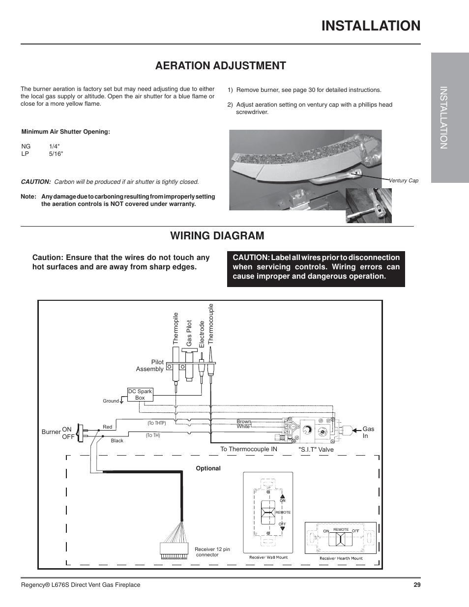 medium resolution of installation wiring diagram aeration adjustment inst alla tion regency sunrise gas fireplace
