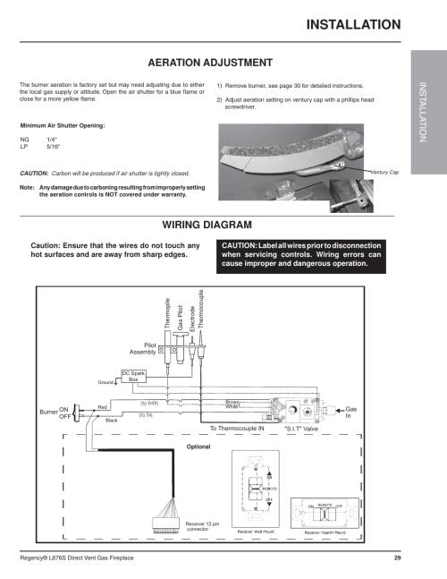 small resolution of installation wiring diagram aeration adjustment inst alla tion regency sunrise gas fireplace