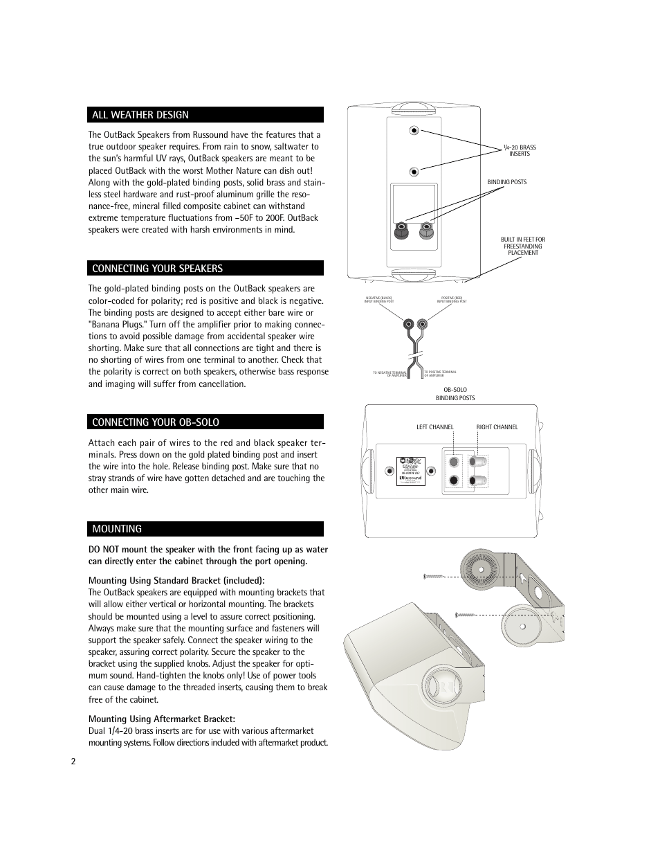 All weather design, Connecting your speakers, Connecting