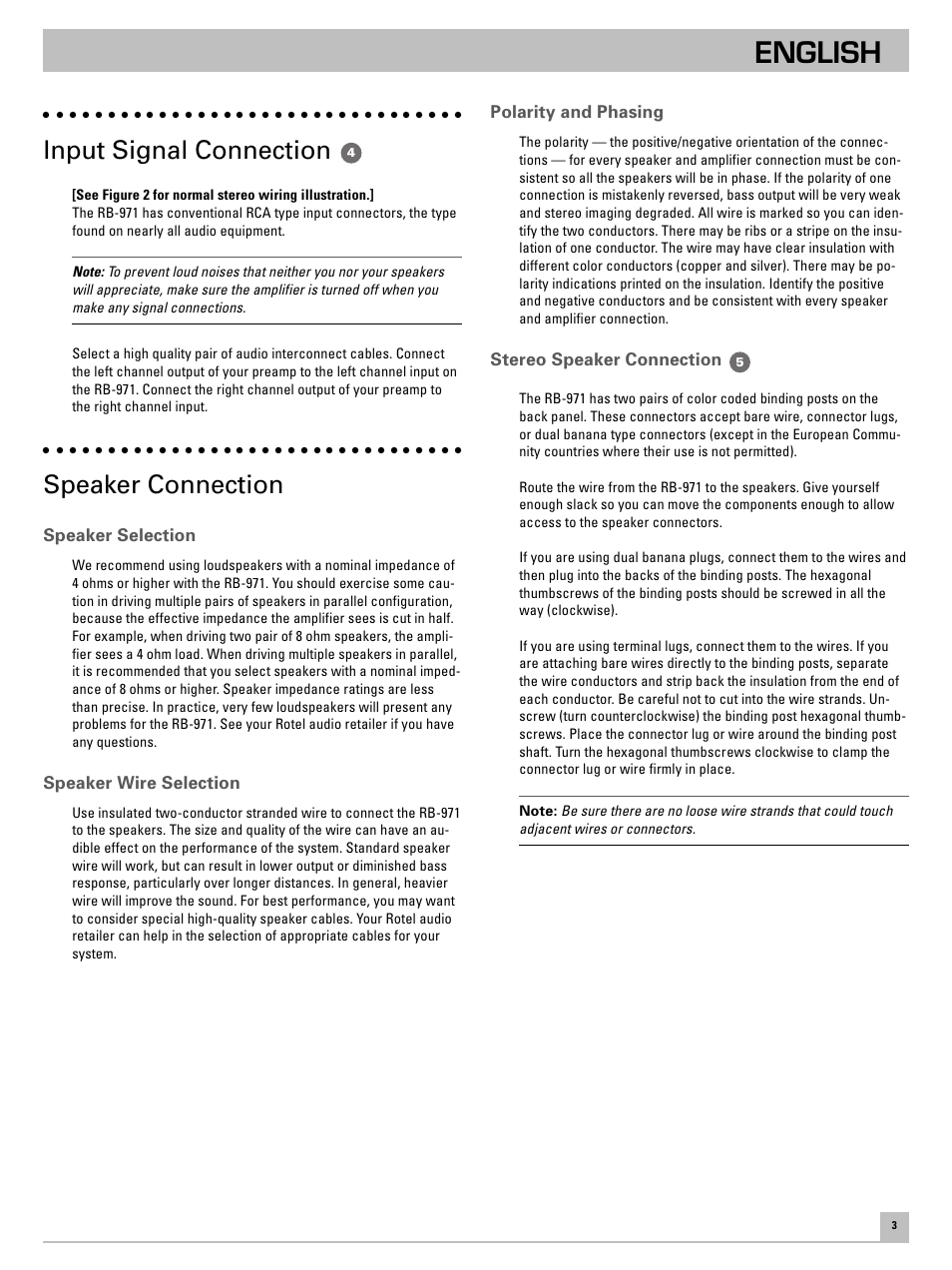 medium resolution of english input signal connection speaker connection rotel rb 971 user manual page 7 11