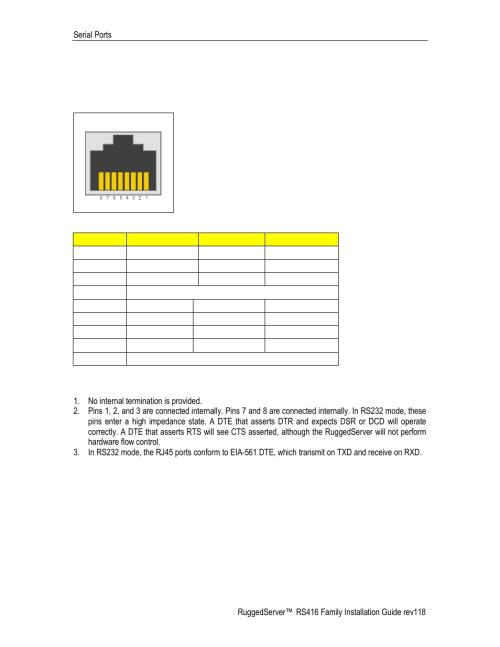 small resolution of rs232 rs485 rs422 via rj45 figure 21 rj45 port pin out table 8 rj45 port pin out ruggedcom rs416 user manual page 27 43