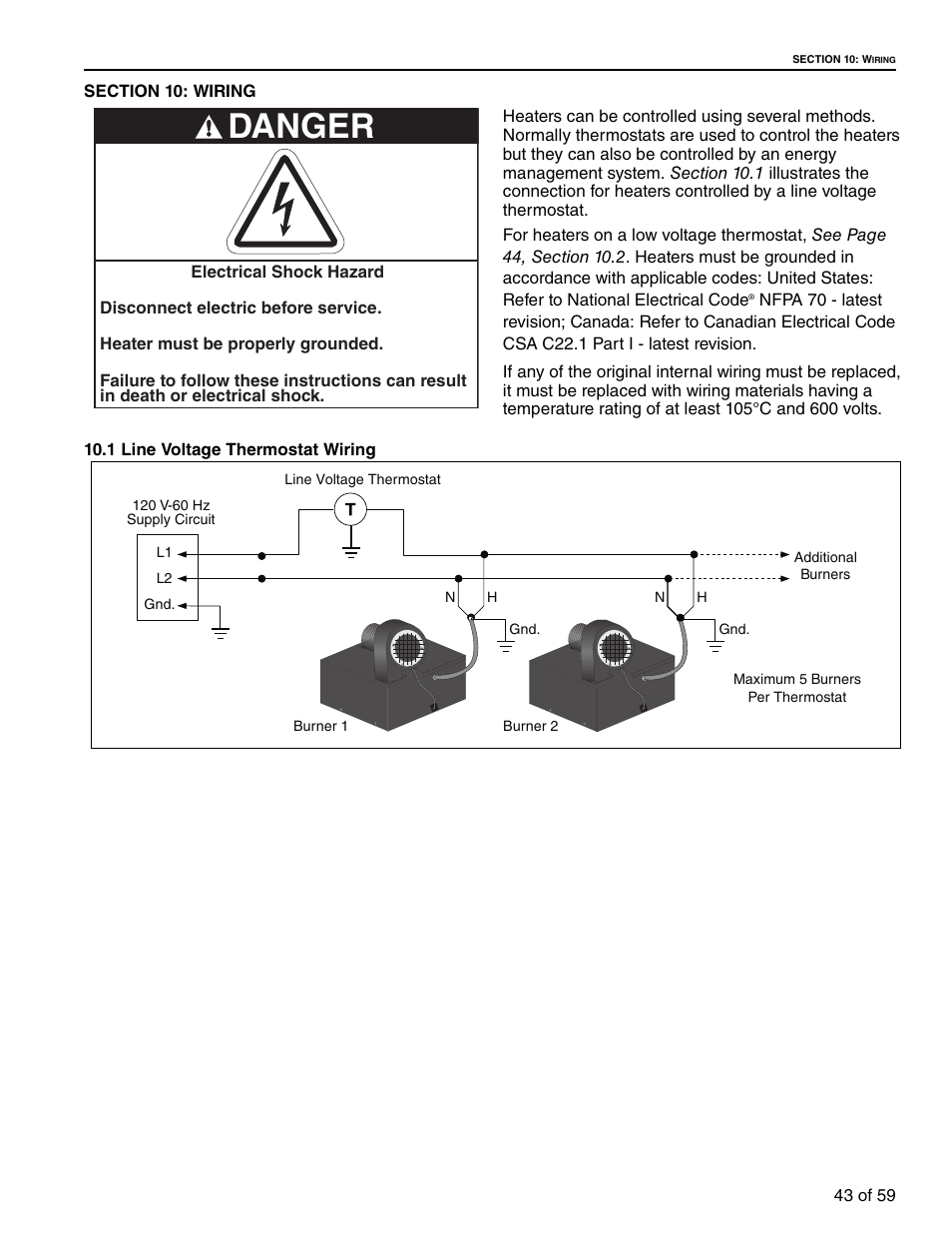 medium resolution of section 10 wiring 1 line voltage thermostat wiring danger roberts gorden gordonray bh bh 40 user manual page 49 70
