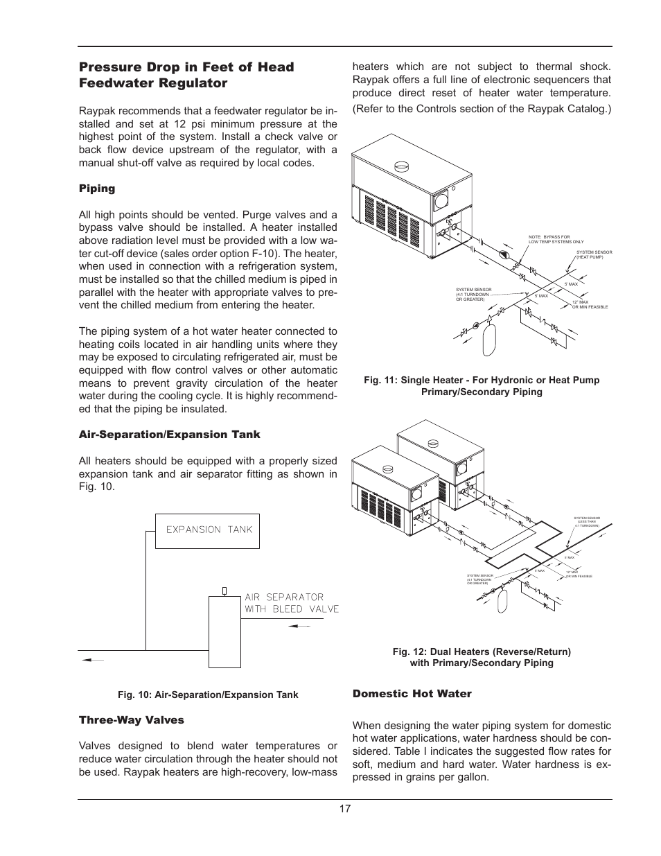 medium resolution of pressure drop in feet of head feedwater regulator fig 10 air separation expansion tank raypak hi delta 302b user manual page 17 60