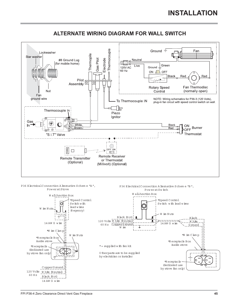 medium resolution of installation alternate wiring diagram for wall switch regency zero clearance direct vent gas fireplace