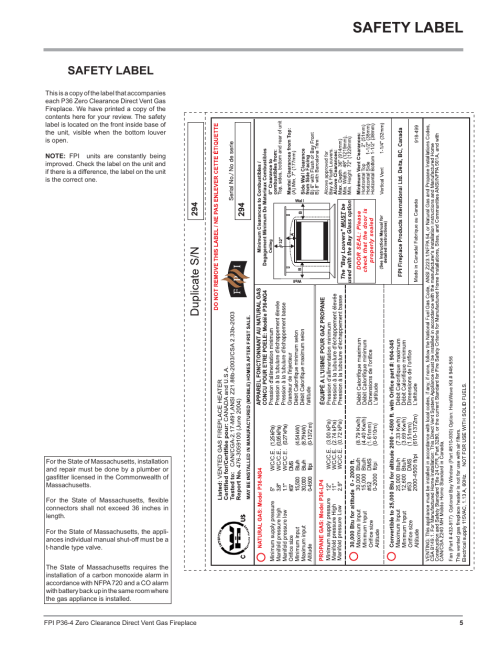 small resolution of safety label regency zero clearance direct vent gas fireplace p36 lp4 user manual