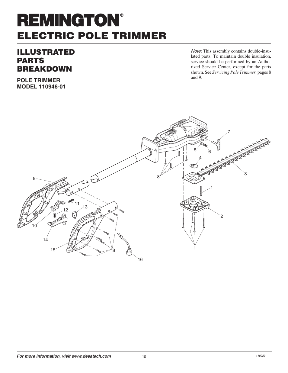 Electric pole trimmer, Illustrated parts breakdown
