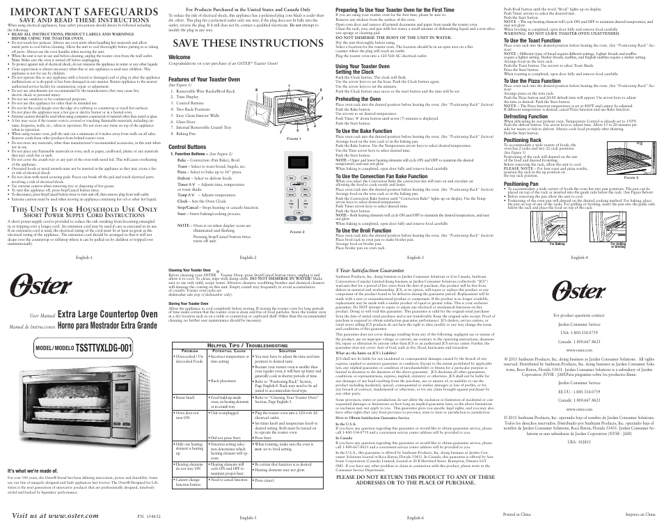 Oster Extra Large Countertop TSSTTVXLDG-001 User Manual