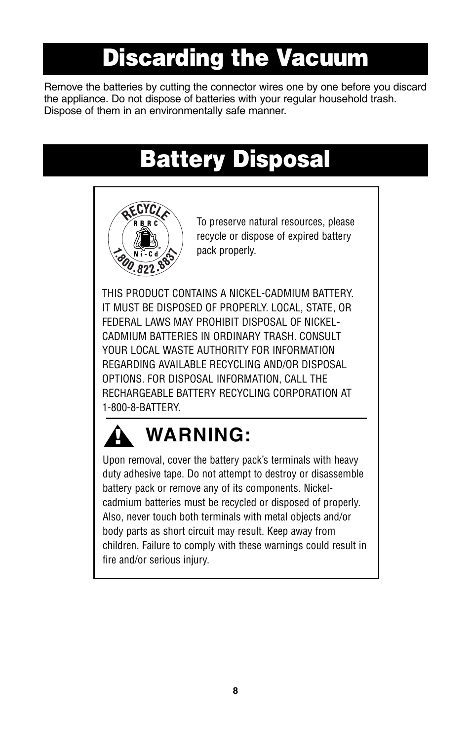 medium resolution of discarding the vacuum battery disposal warning oreck qs110 user manual page 9 12