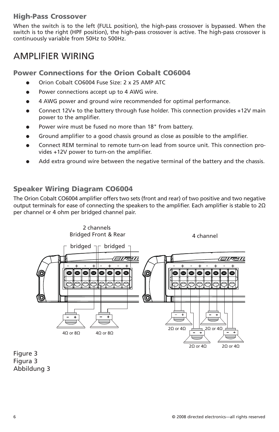 medium resolution of amplifier wiring high pass crossover power connections for the orion cobalt co6004 orion car audio co6004 user manual page 7 66