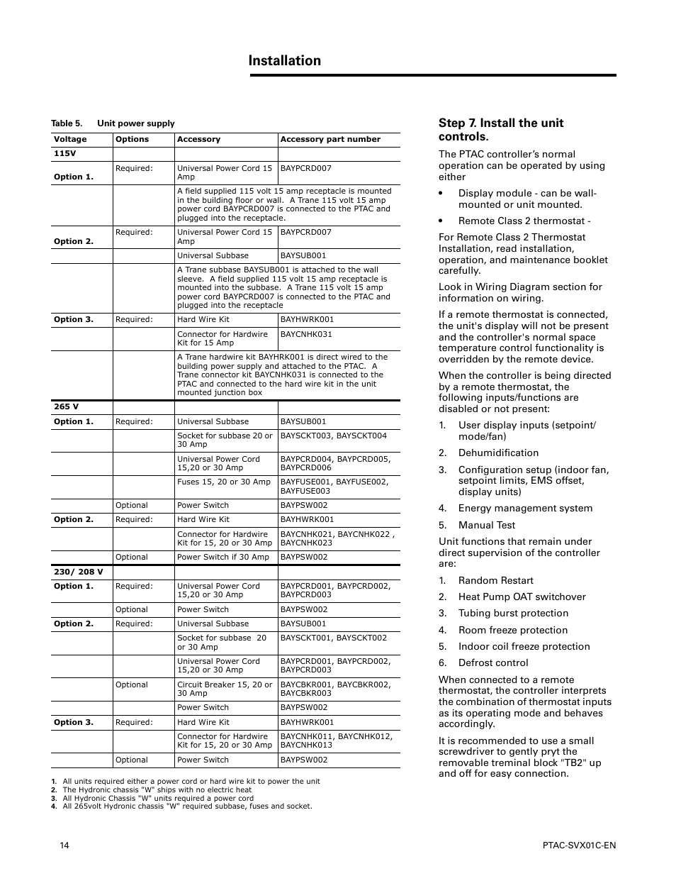 medium resolution of step 7 install the unit controls installation trane ptac svx01c en user manual page 14 52