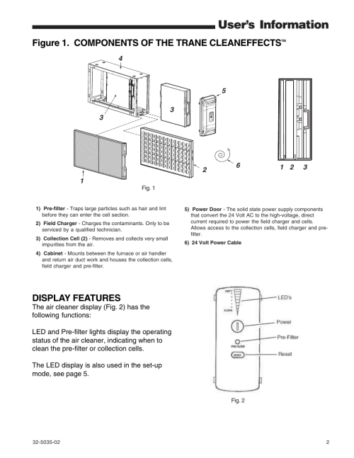 small resolution of user s information figure 1 components of the trane cleaneffects display features trane cleaneffects air filtration system user manual page 2 8