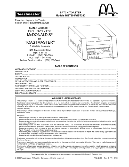 small resolution of toastmaster mbt240 user manual 16 pagestoastmaster wiring diagram 15