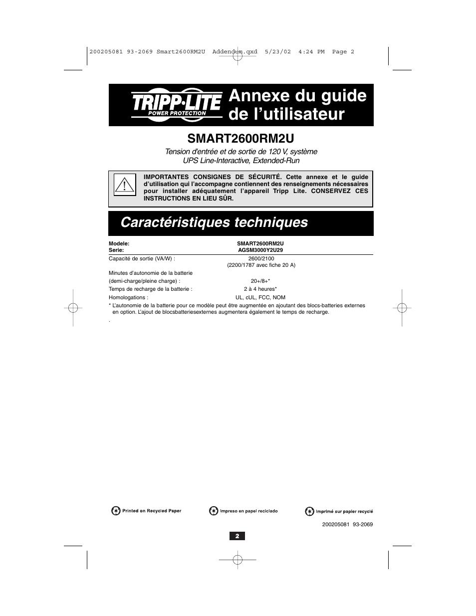 Annexe du guide de l'utilisateur, Caractéristiques