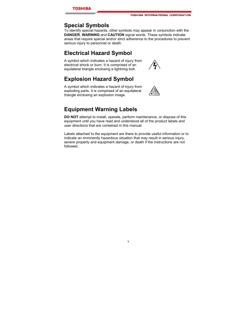 small resolution of special symbols electrical hazard symbol explosion hazard symbol equipment warning labels toshiba