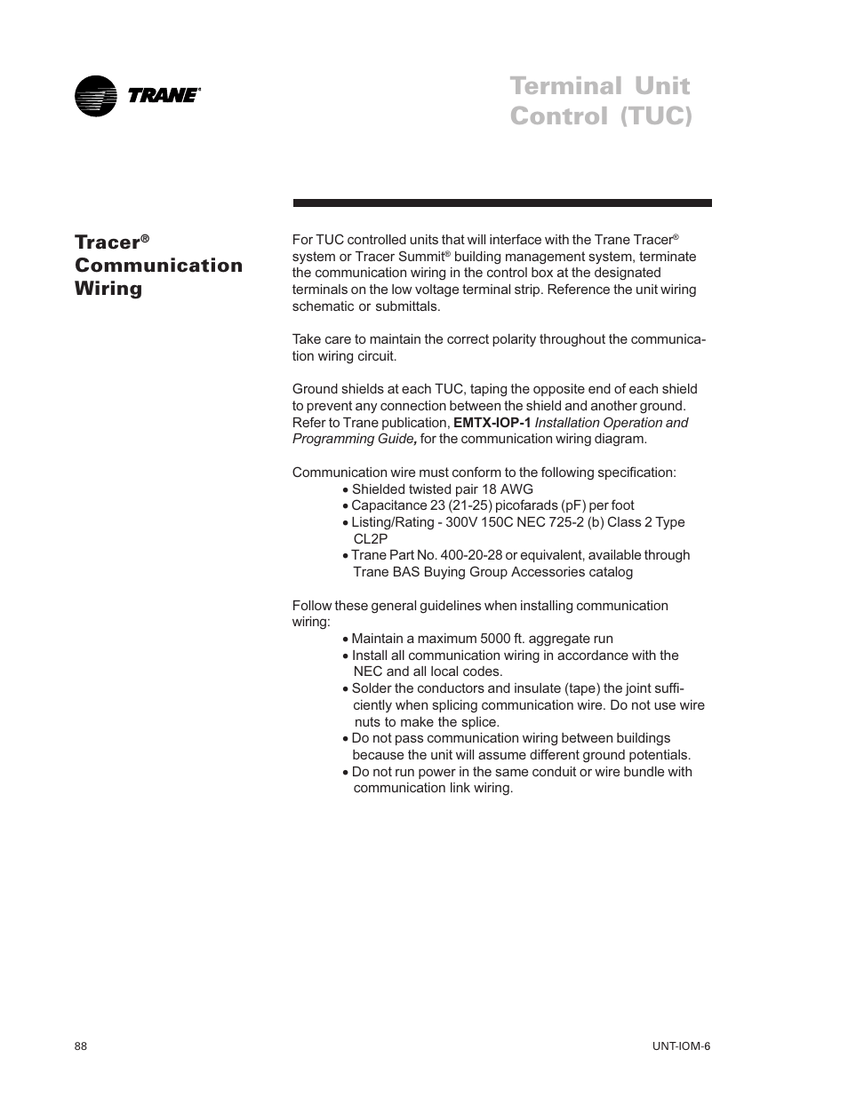 medium resolution of tracer communication wiring terminal unit control tuc tracer trane lo user manual page 88 136