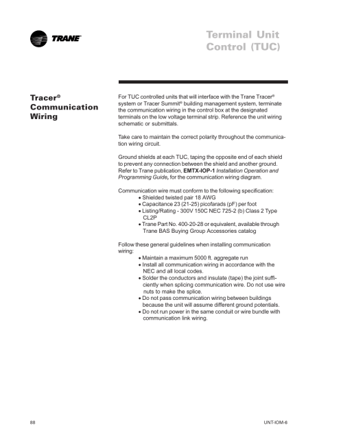 small resolution of tracer communication wiring terminal unit control tuc tracer trane lo user manual page 88 136