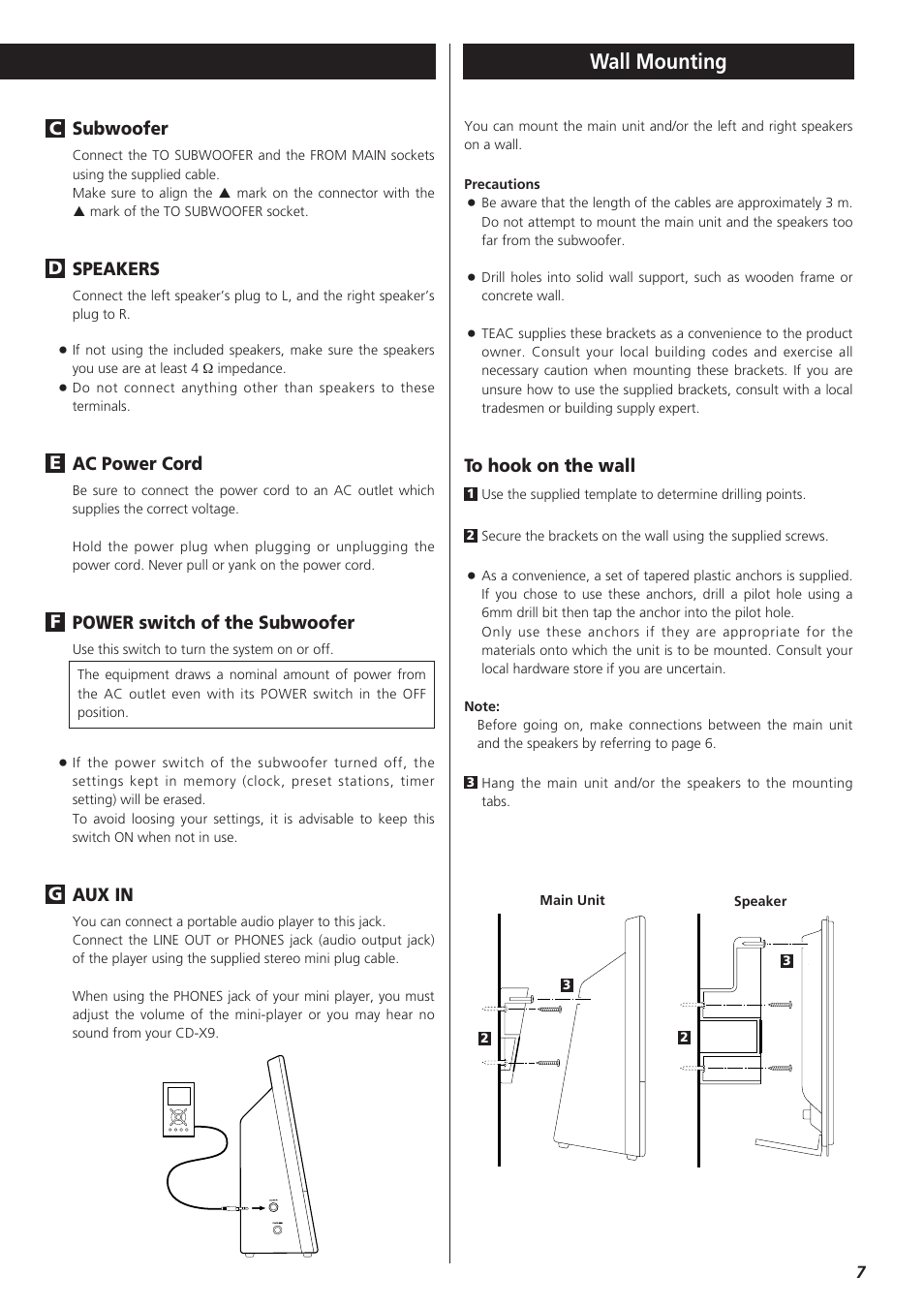 medium resolution of wall mounting subwoofer speakers teac cd x9 user manual page 7 24