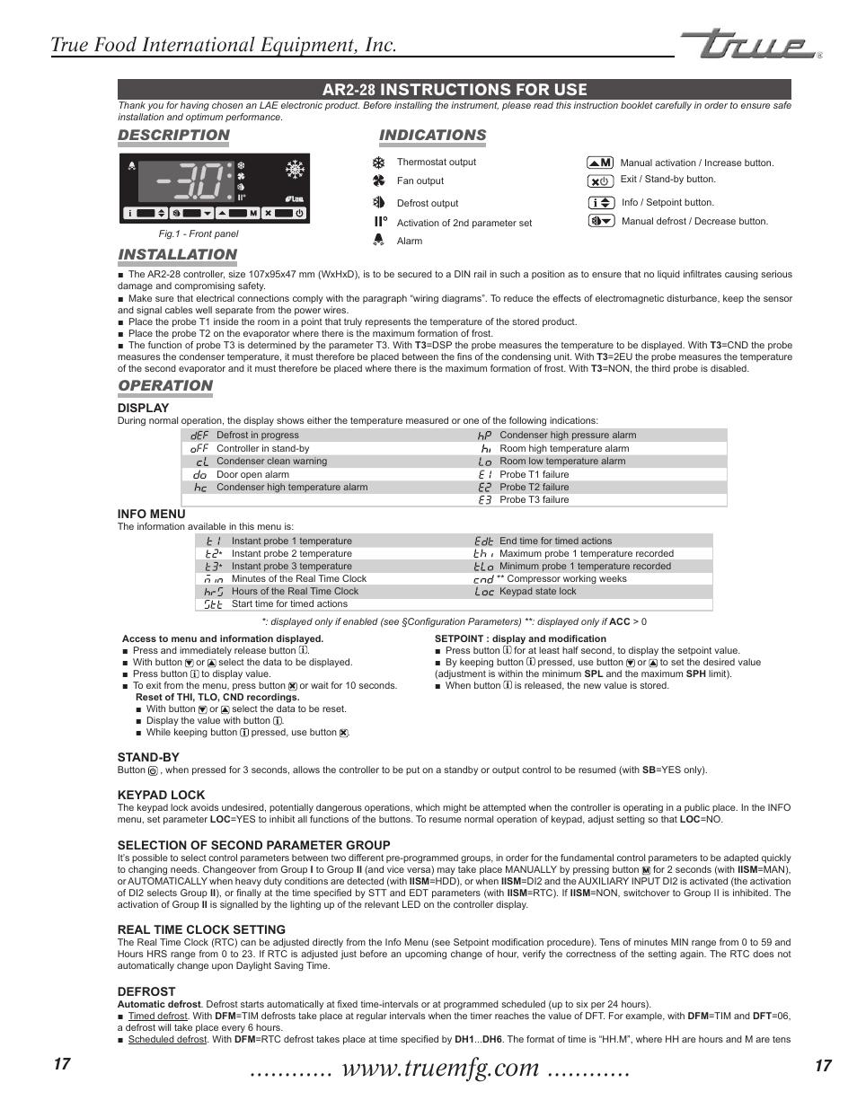 medium resolution of true food international equipment inc ar2 28 instructions for usetrue food international equipment