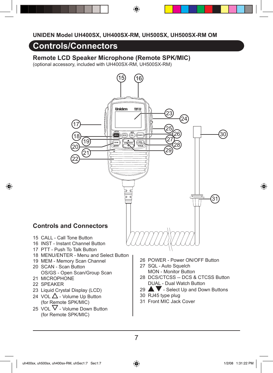 Controls/connectors, Controls and connectors, Remote lcd