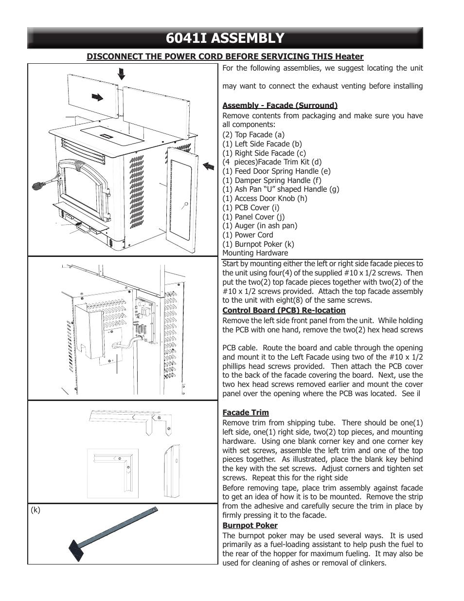6041i assembly, A) (c) (h) (f) (g) (b) (e), I) (j