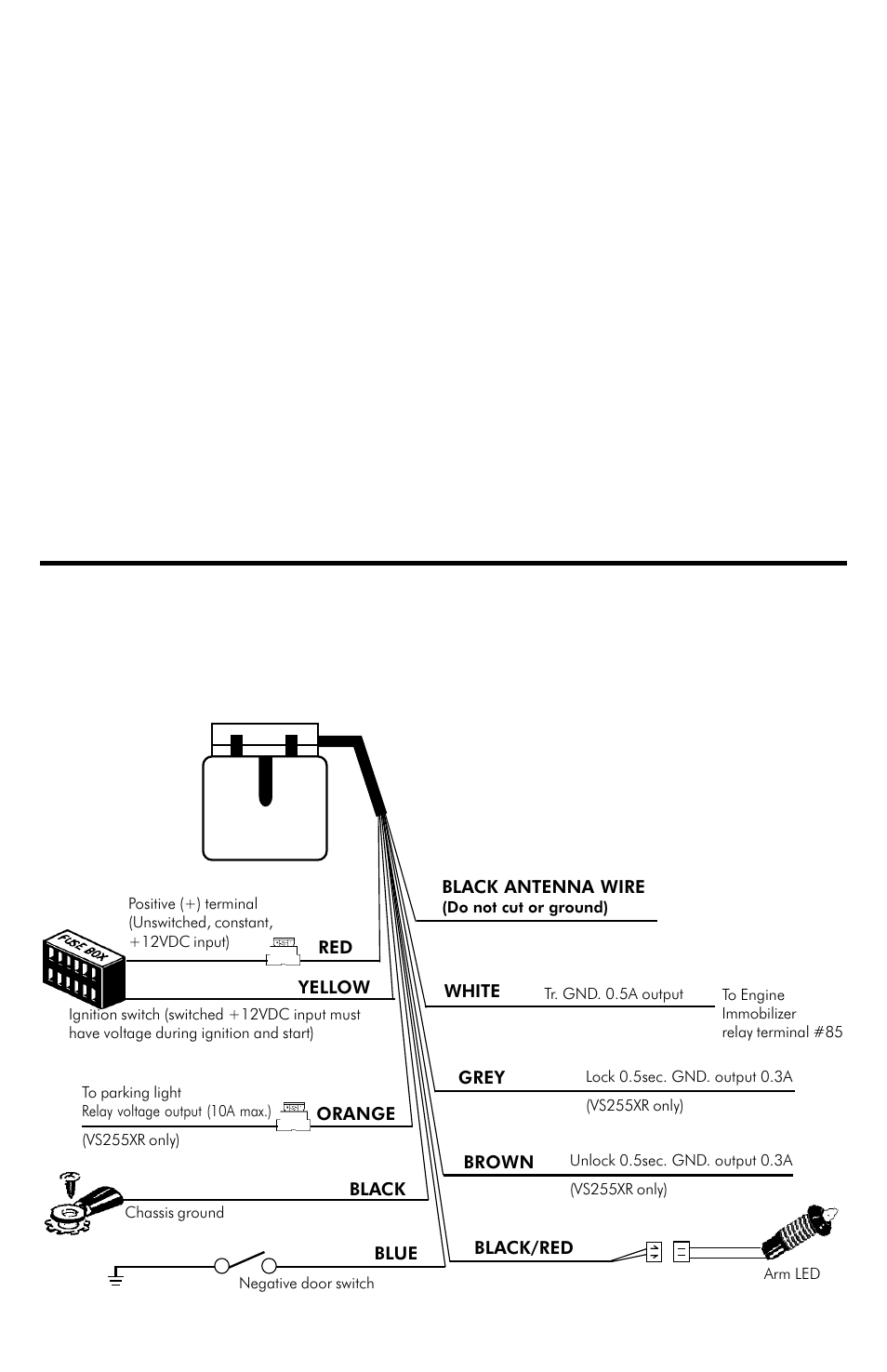 hight resolution of installation manual vs235xr comes with 6 wires only trouble shooting connection diagram