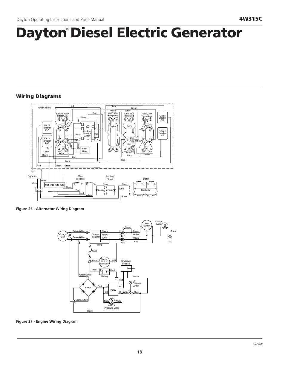 hight resolution of dayton diesel electric generator 4w315c wiring diagrams dayton operating instructions and parts manual