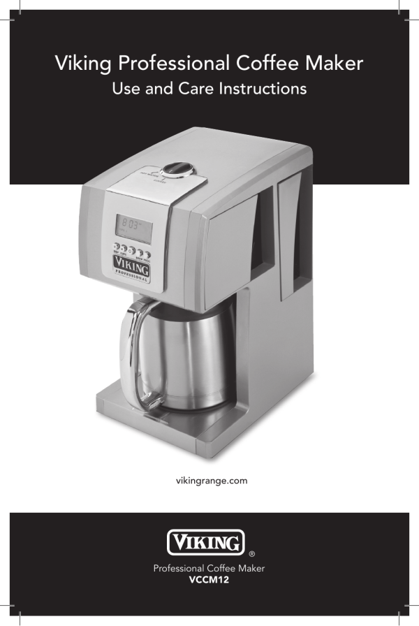 Viking Professional Coffee Maker Manual