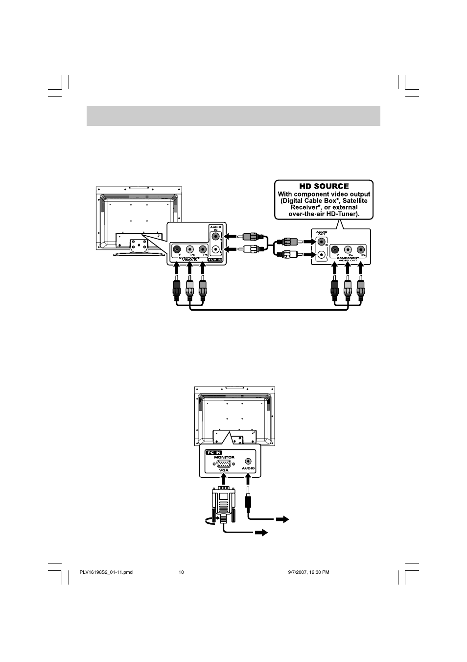 hight resolution of connections connecting a high definition hd source connecting a pc venturer plv16198 user manual page 11 20