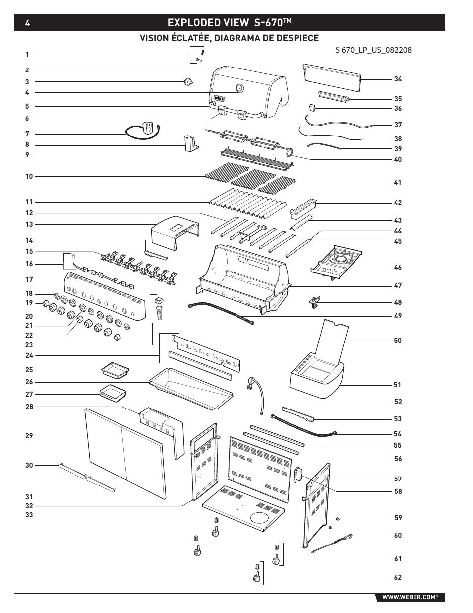 Exploded view s-670, Vision éclatée, diagrama de despiece