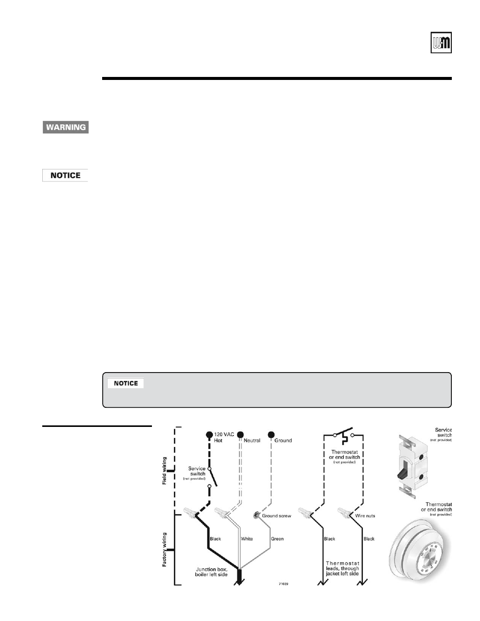 Field wiring, Gold cgi gas-fired water boiler — boiler