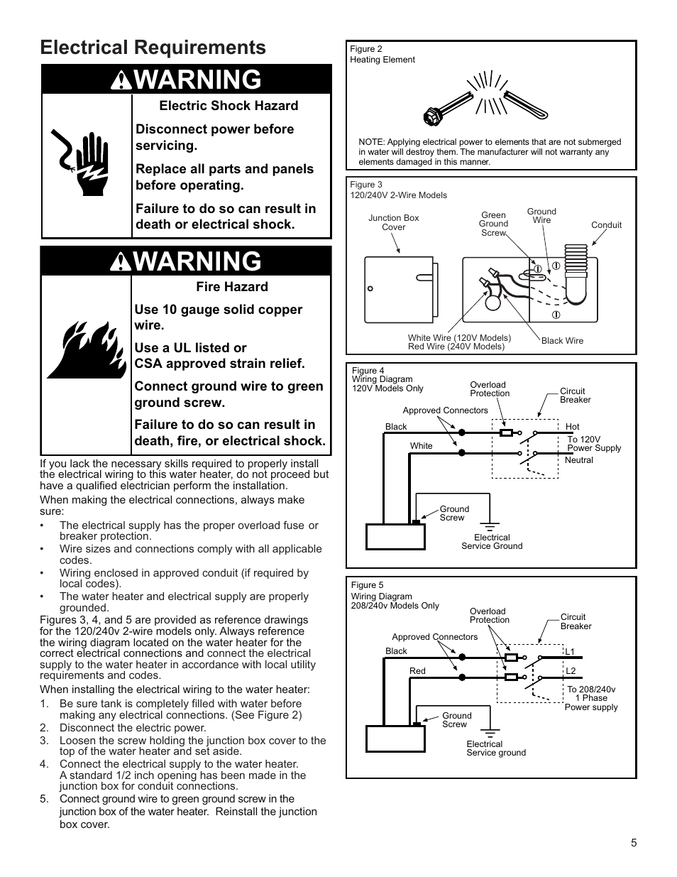 medium resolution of warning electrical requirements whirlpool e2f65hd045v user manual page 5 16