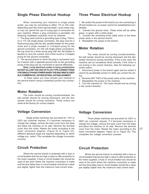 small resolution of single phase electrical hookup motor rotation voltage conversion wilton 4400a user manual page 17 32