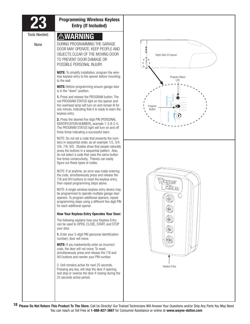 medium resolution of warning programming wireless keyless entry if included wayne dalton prodrive 3222c z user manual page 24 48