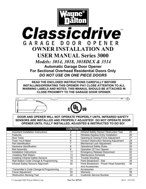 small resolution of wayne dalton classic drive garage opener