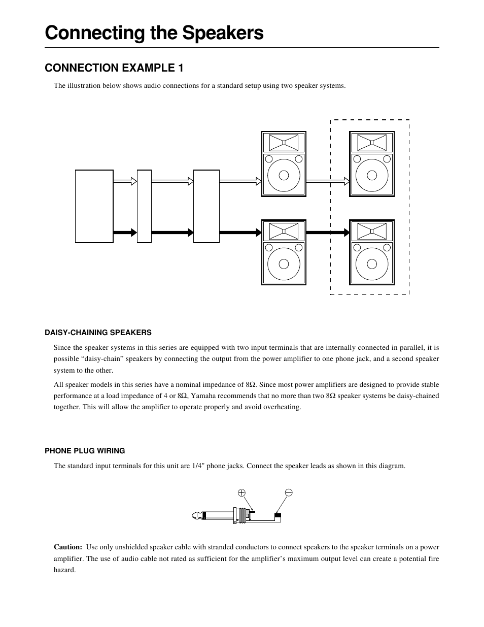 hight resolution of connecting the speakers connection example 1 yamaha s115iva oak user manual page