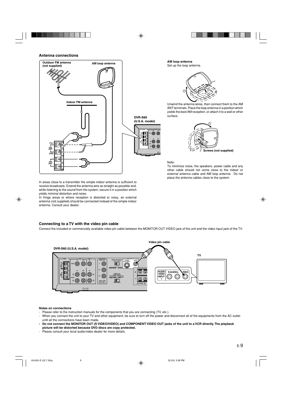 medium resolution of antenna connections connecting to a tv with the video pin cable dvr s60 yamaha dvx s60 user manual page 13 31